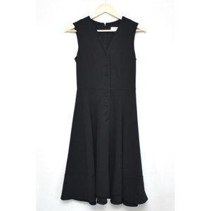 CALVIN KLEIN Black Button Front Midi Dress